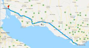 Viagem de carro de Montevidéu a Carmelo: trajeto