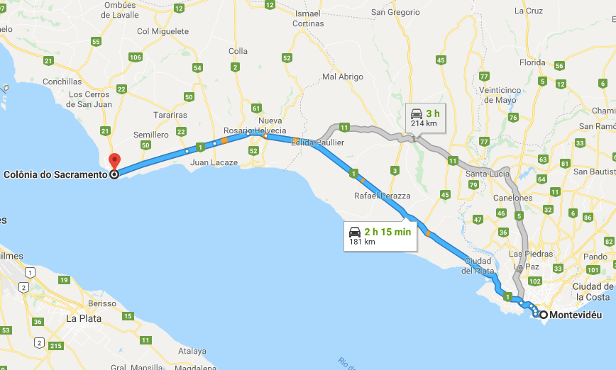 Viagem de carro de Montevidéu a Colonia del Sacramento: trajeto