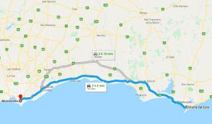 Viagem de carro de Punta del Este a Montevidéu: trajeto