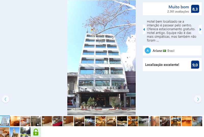 Fachada do Hotel London Palace em Montevidéu